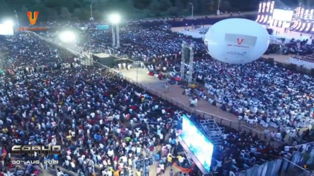More than 1 lakhs crowd gathered at RFC today event in Hyderabad. Biggest Pre Release Event For An Indian Film - #Saaho  massive crowds. #SaahoPreReleaseEvent   #30AugWithSaaho  #Prabhas @ShraddhaKapoor @arunvijayno1  @UV_Creations<br>http://pic.twitter.com/2CZtzt7XJB
