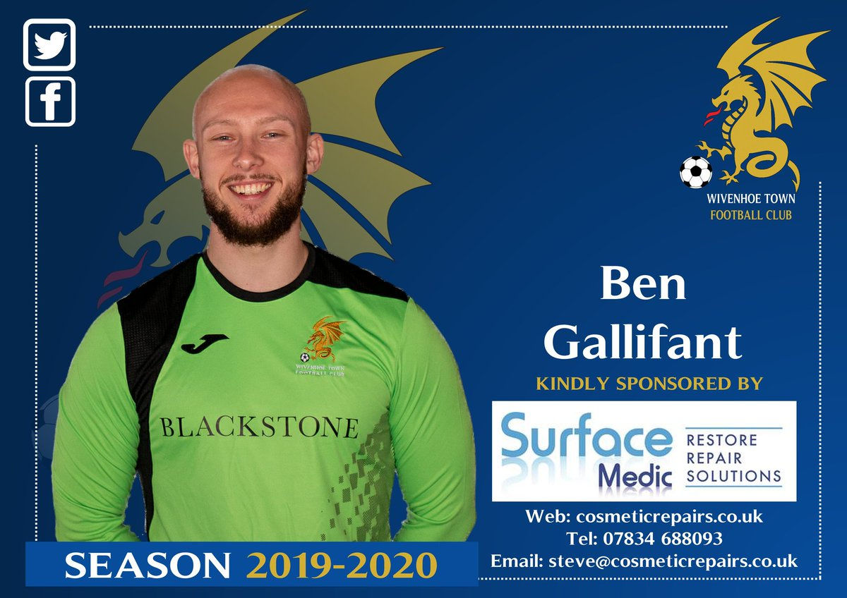 Thank you to the @surfacemediccol  for sponsoring Ben Gallifant this season.  Gallifant was in goal for Wivenhoe Town Reserves yesterday, saving a penalty and keeping a clean sheet in the 8 - 0 victory. <br>http://pic.twitter.com/7bjXOmDZyV