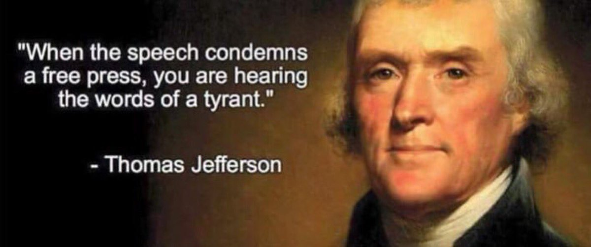 """Thomas Jefferson has a lot to say about a #CROOKEDPRESIDENT! """"When the speech condemns a free press (like saying #FakeNews when you disagree), you are hearing the words of a tyrant."""" """"Do you want to know who you are? Dont ask. ACT! Action will delineate and define you"""""""