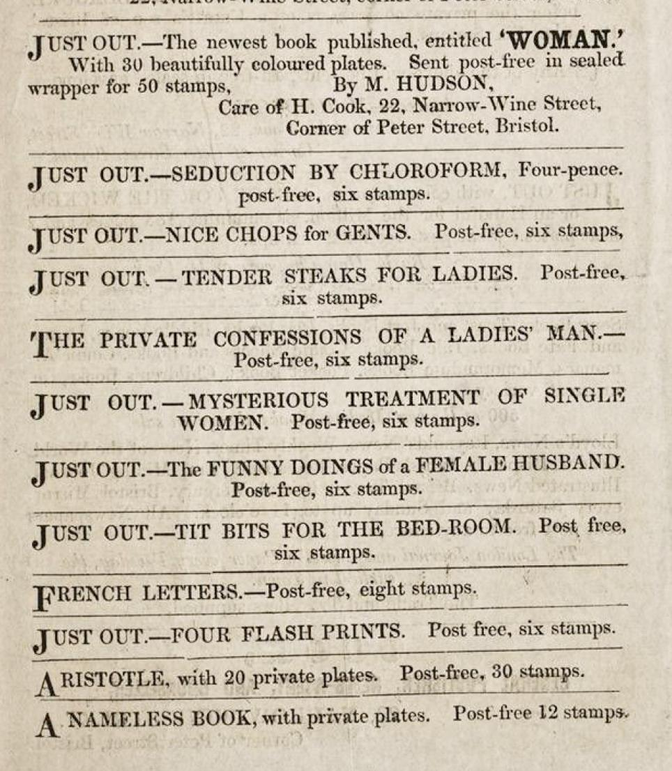 Here are some more adverts for spicy literature from the same publication. Some quite extraordinary titles! Heres hoping that Seduction by Chloroform is a story, rather than a guide...