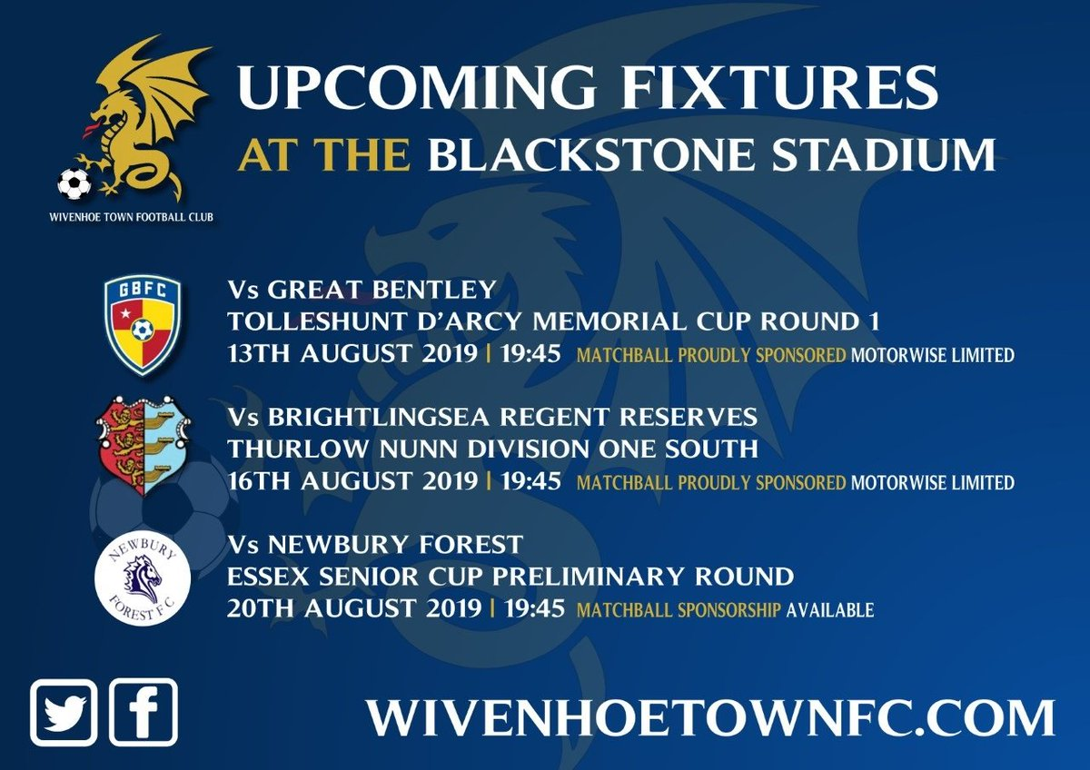 Wivenhoe Town v @NewburyForestFC - Tuesday evening at the Blackstone Stadium - Kick off 19:45  It's the opening round of the Essex Senior Cup and Wivenhoe Town welcome fellow First Division side Newbury Forest. <br>http://pic.twitter.com/vqgvMgYtwP