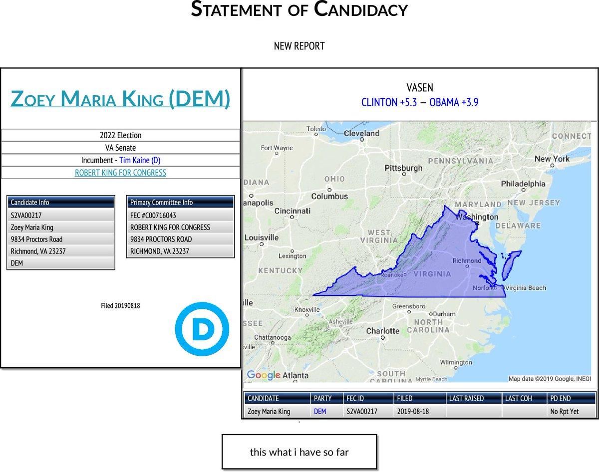NEW FEC F2 Zoey Maria King (DEM) #VASEN   http:// classic.fec.gov/fecviewer/Comm itteeDetailFilings.do?tabIndex=3&candidateCommitteeId=S2VA00217  … <br>http://pic.twitter.com/fWy55svOTw