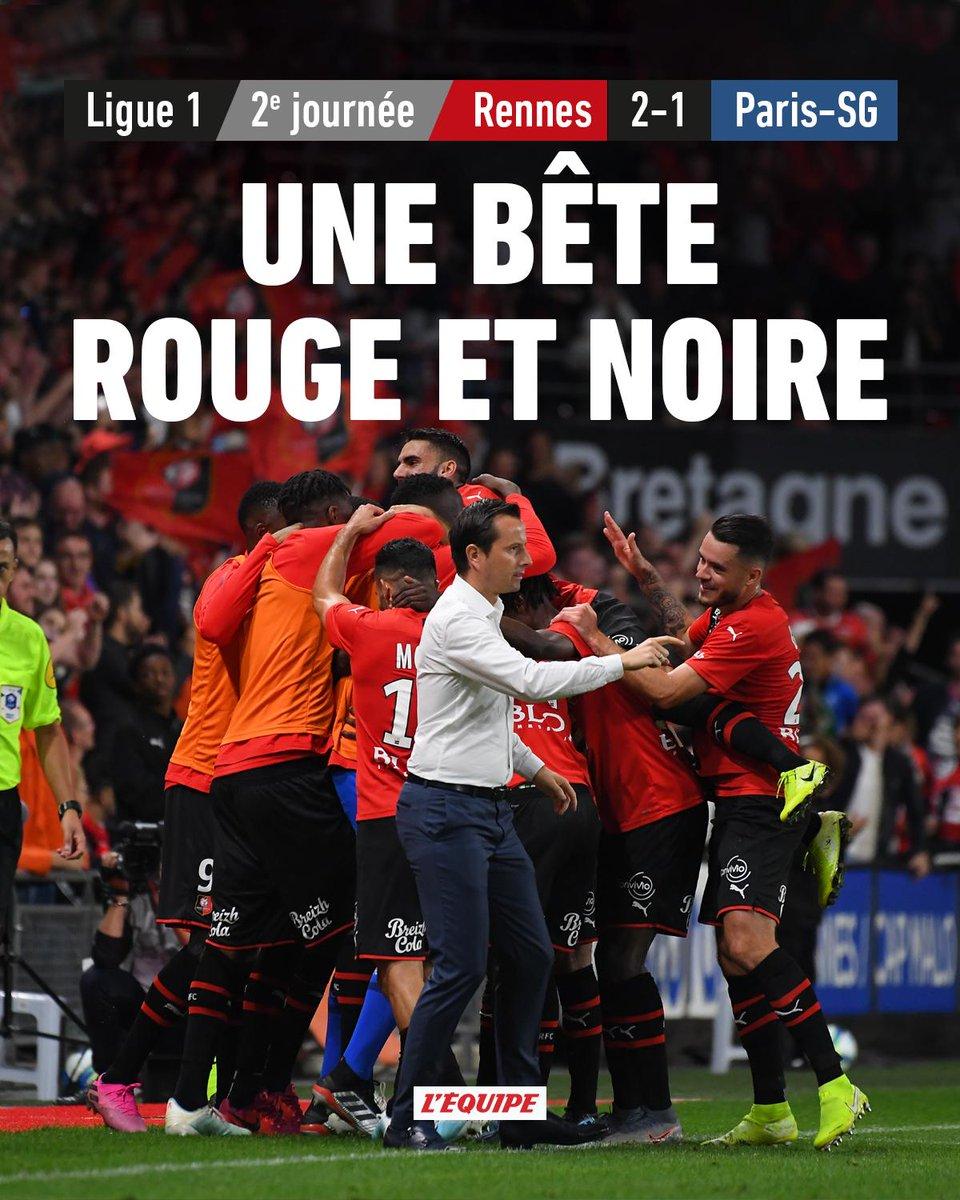 Rennes renverse le PSG et simpose au Roazhon Park en clôture de la 2e journée de Ligue 1. Le match > ow.ly/Kly830pniCd Le classement > ow.ly/4LRS30pniCe #SRFCPSG