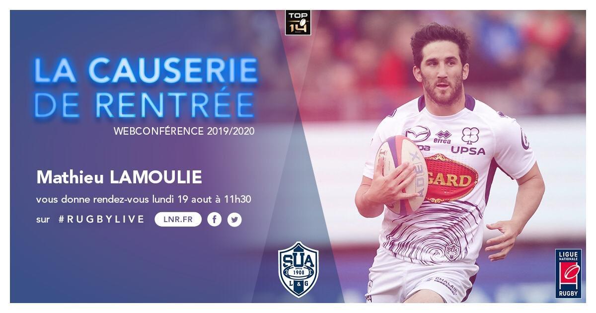 #RugbyLive   La causerie de rentrée @LNRofficiel c'est demain à 11h30 ! 🤓🏉  Mathieu Lamoulie sera notre digne représentant @agen_rugby ! ☝🏼