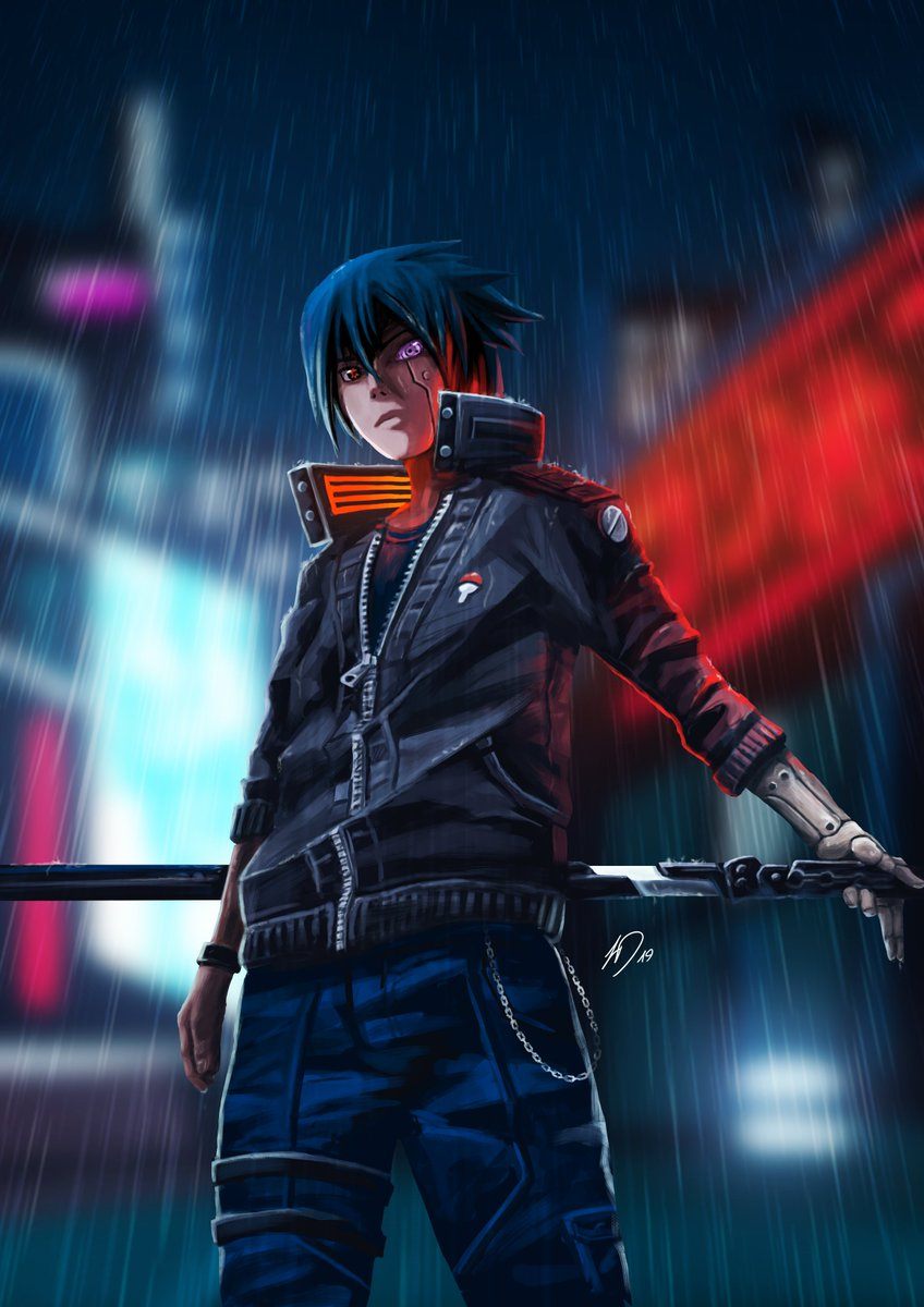 Cyberpunk Sasuke // Digital Drawing  Credits to @kokocreation who inspired me with his crossover idea and got me motivated to do a digital drawing again. Check him out!  Feedback is highly appreciated :) https://t.co/wD09XyD8gM