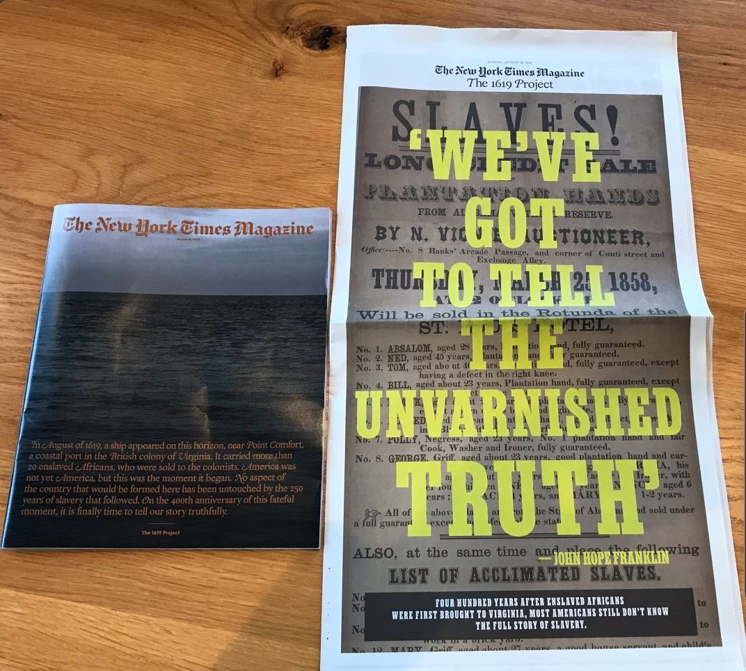 A few weeks ago, a bunch of us were pissed AF at the NY Times for its cover whitewashing the #CROOKEDPRESIDENT. But I will be buying my print issue of #1619Project, which covers the slavery-stained America that trump considers Great, but wants us to forget. BUY ONE.