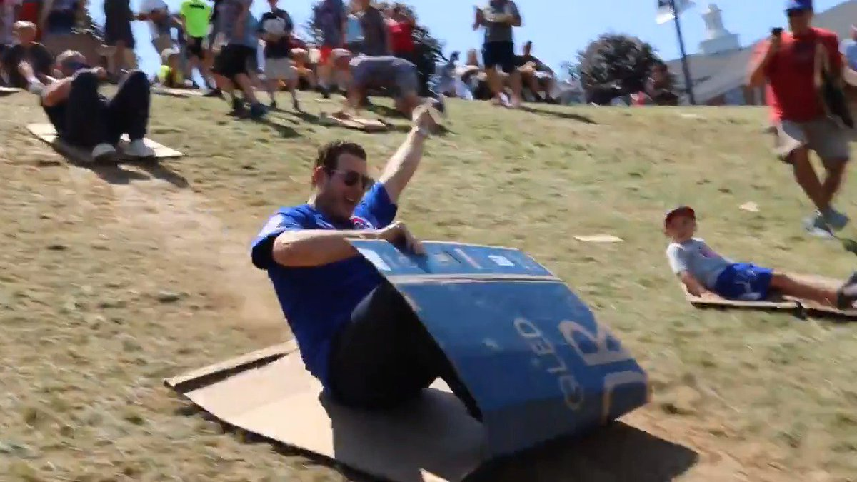 Cubs ride boxes down hill at Little League Classic