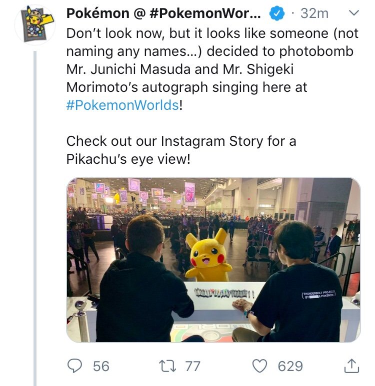 """Tried to get a picture with my poster and Masuda in the background. Then one of the security guards came up and stopped me saying, """"Not here, come on man"""" A few minutes later, this tweet was posted then deleted. I wonder why  #PokemonWorlds #BringBackNationalDex <br>http://pic.twitter.com/VxIlDaAxVW – à Walter E. Washington Convention Center"""
