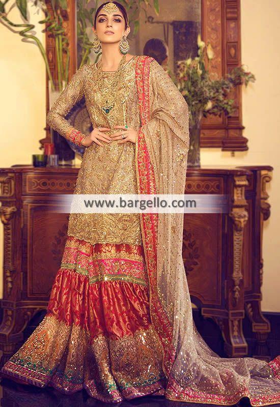 Traditional Wedding Gharara with Mukesh Work - Buy Now https://buff.ly/2Zbd5NK  -  #bridal #redbridal #weddingdress #valima #Walima #pakistanibrides #nomiansari #arshbridal #receptiondresses #designerbridal #reception #BridalDresses #BridalWear #BridalCollection