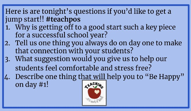 #teachpos is tonight at 7:30 pm est, 6:30 cst. Hope you can join! Questions are below.