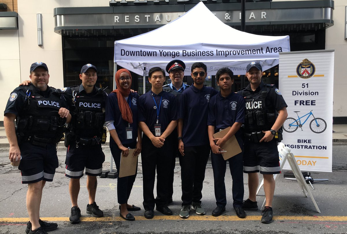 Hey #Toronto!  We're out @OpenStreetsTO with the @youthinpolicing students registering bikes. Registration greatly helps with recovery if lost or stolen!  Drop by Yonge Street at Shuter and say hello! @TPS51Div @TPS51CRU<br>http://pic.twitter.com/CZGsG5eSJE