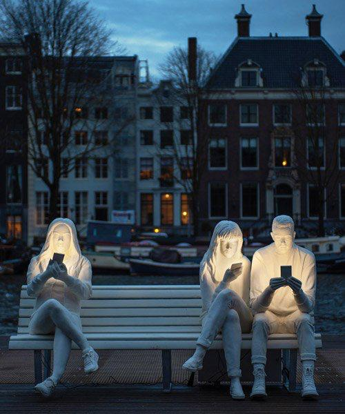 A sculpture recently placed on a bench in Amsterdam.   The artist simply named it 'Addiction'. <br>http://pic.twitter.com/341D6gL7xb