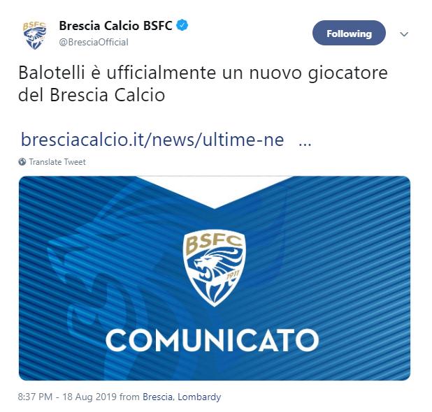 Brescia, Mario Balotelli transferini resmen açıkladı.