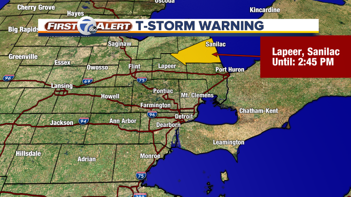 Severe Thunderstorm Warning. Tune to Channel 7. Details and live map: wxyz.com/weather.