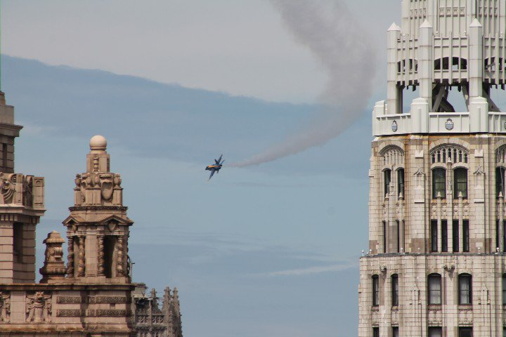Got a few shots of the Air And Water Show today from my building with a telephoto lens.
