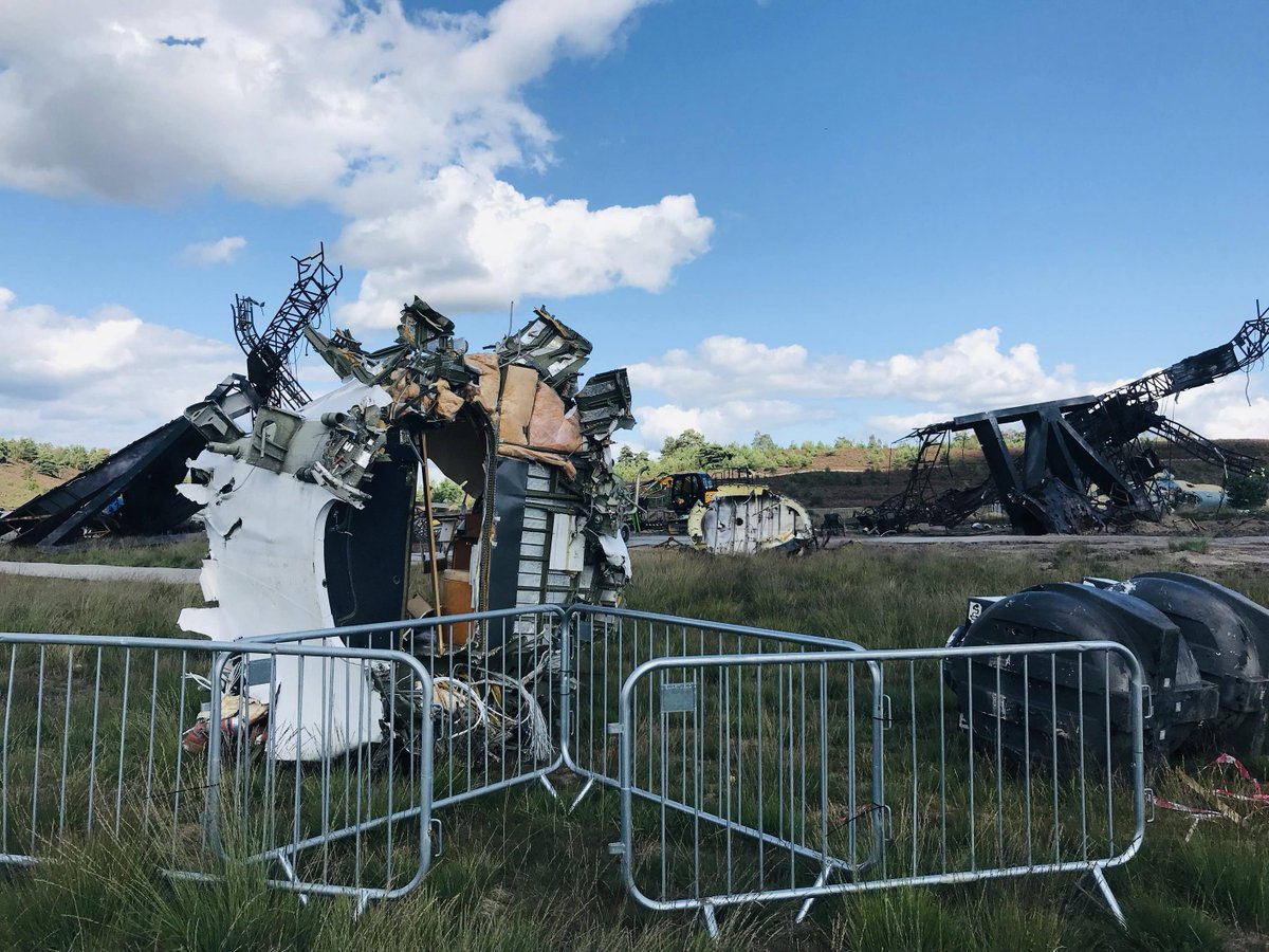 New photos from the UK set of the #BlackWidow  movie show the wreckage and debris from an apparent helicopter crash!  (via Reddit user DaUltraMarine) <br>http://pic.twitter.com/gwauaR25sT