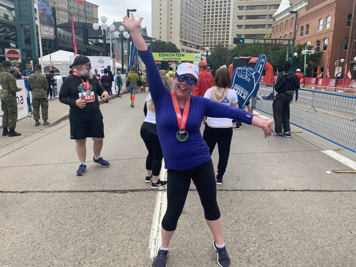 My 45th running race in the bag! I'm glad I got to do the @Edm_Marathon with some of my amazing @CBCEdmonton colleagues Congrats everyone! #wedidntdie!<br>http://pic.twitter.com/mGgl32TGro