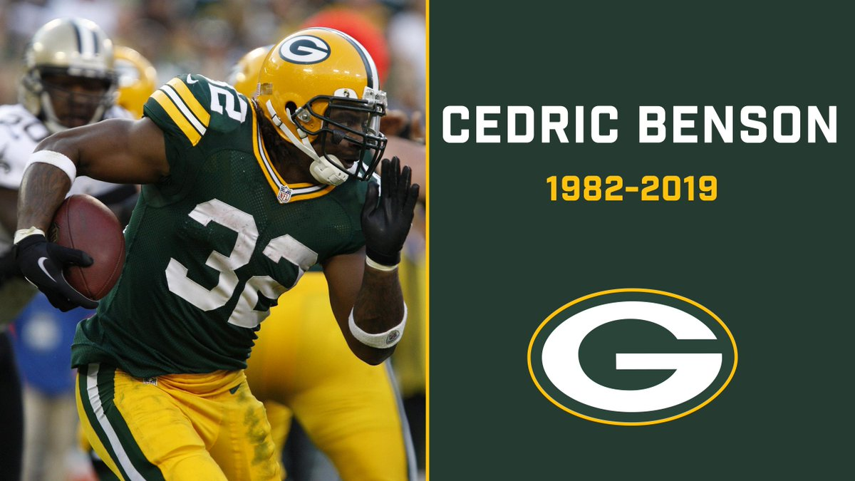 Our condolences go out to the friends & family of Cedric Benson, who passed away Saturday at age 36:  https:// pckrs.com/puegd        Benson played his final season with the #Packers in 2012. <br>http://pic.twitter.com/waZh1ZTlVW