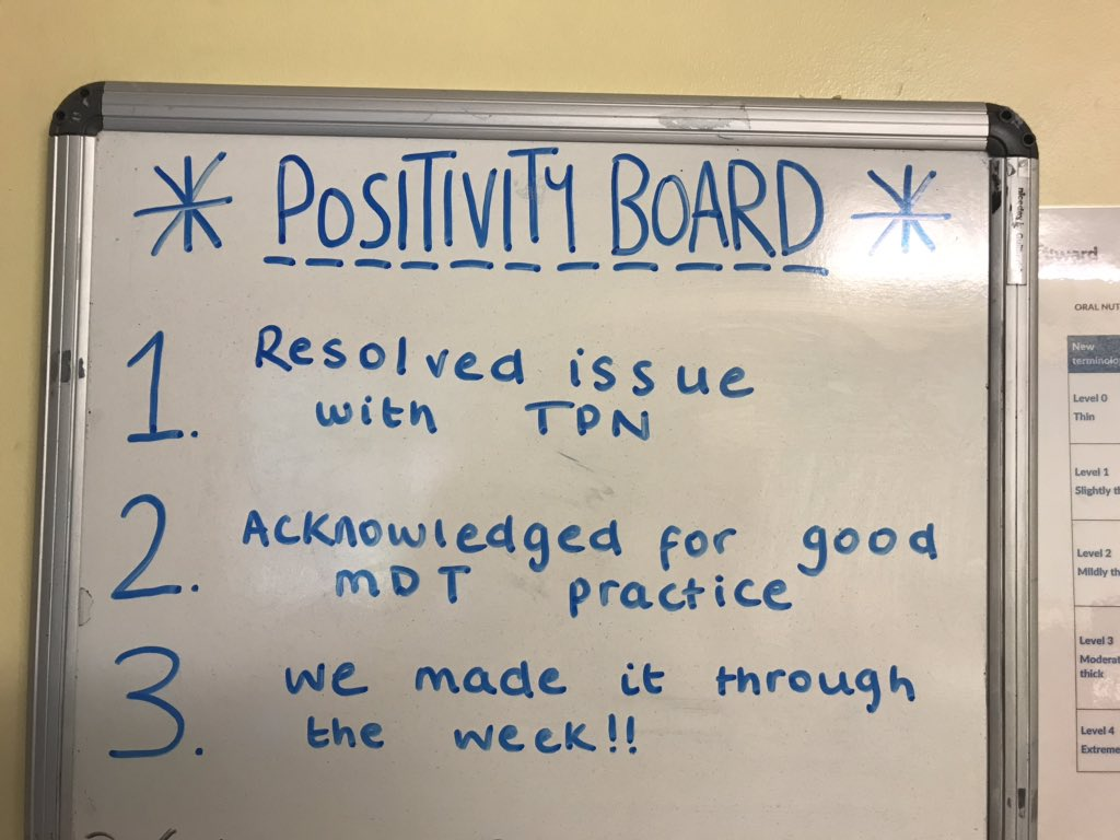 Copied this fabulous idea from @CammissNichola  a positivity board for the office to highlight some of the good things which can get overlooked in a busy and stressful work environment! @AcuteDietitians #positivethinking #PositiveVibes #GoodVibesOnly<br>http://pic.twitter.com/BaauLdvwqU