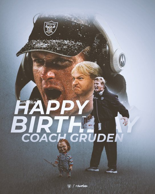 Happy birthday, man.   @Faux_Gruden #RaiderNation <br>http://pic.twitter.com/ORjI2QDSQ2