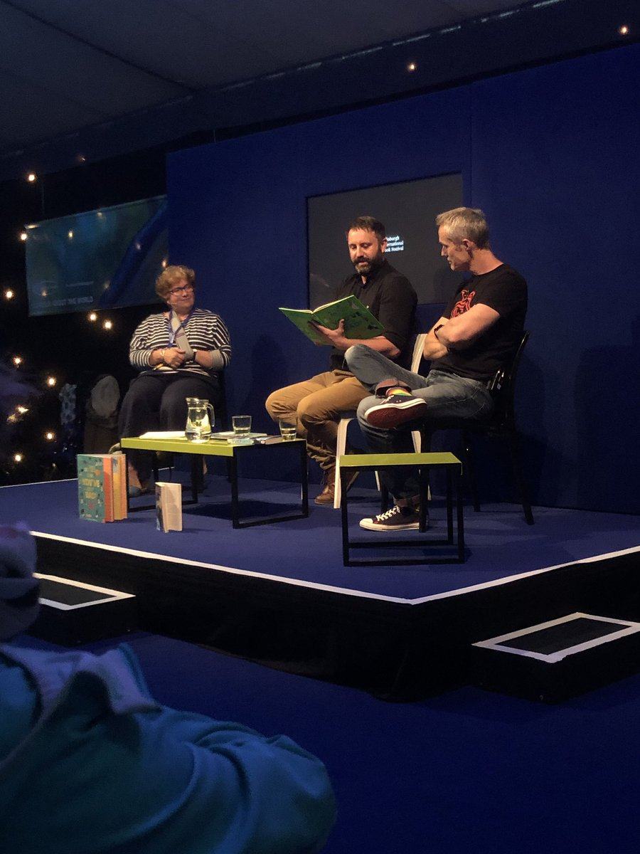 """""""It's all about connecting children to history..."""" We're writing the past this evening at a rainy @edbookfest with the brilliant @chaestrathie and @DanSmithAuthor (chaired by lovely @LindseyFraser ) 📝"""