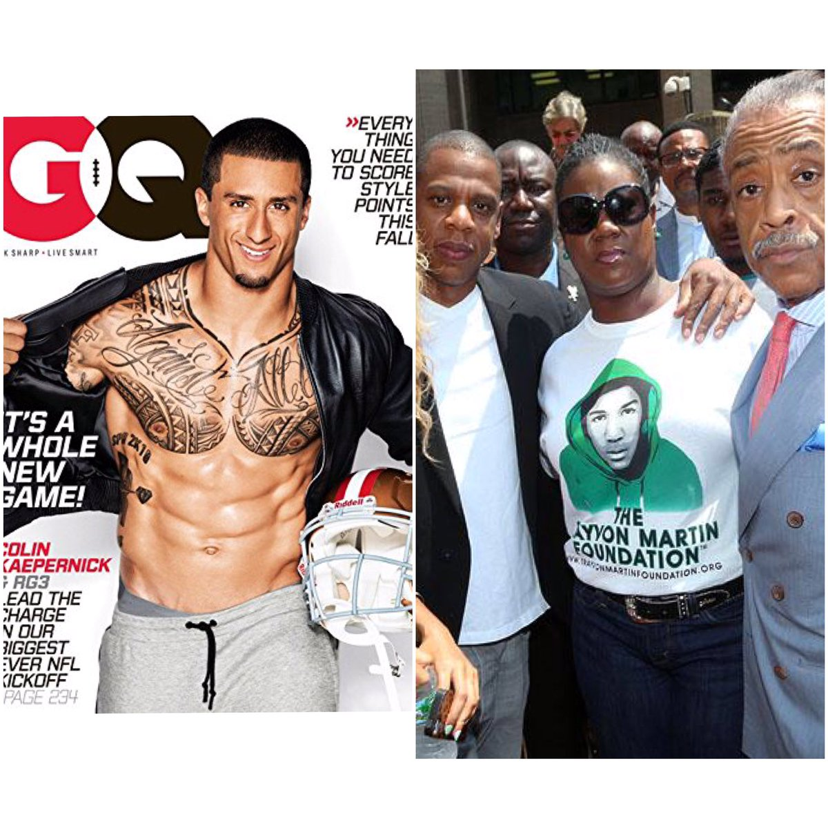These pictures were talking In 2013 at the height on the BLM movement. In the GQ article there were no mention on social injustice from from Huey. Same with 2014. Meanwhile guess who was out there bailing Ferguson protesters out of prison .... you guest it  MUTE TILL 2016 <br>http://pic.twitter.com/ApJyOyXo9t