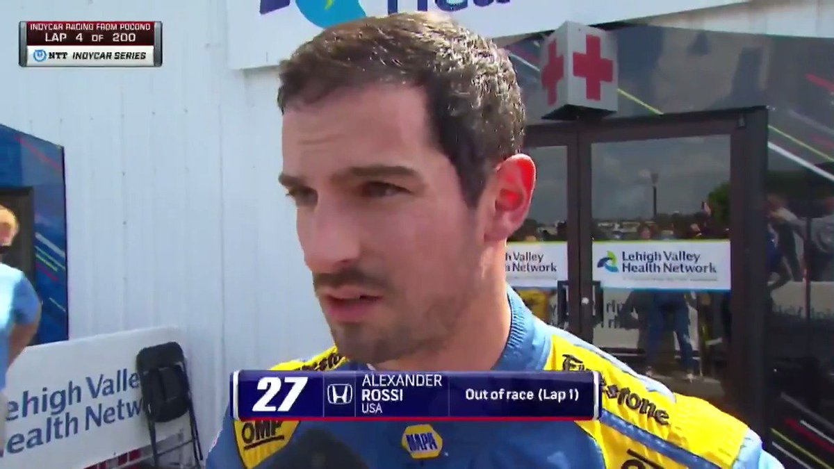 Heres what @AlexanderRossi had to say after the Lap 1 incident at @PoconoRaceway 🗣️ #ABCSupply500 // #INDYCAR