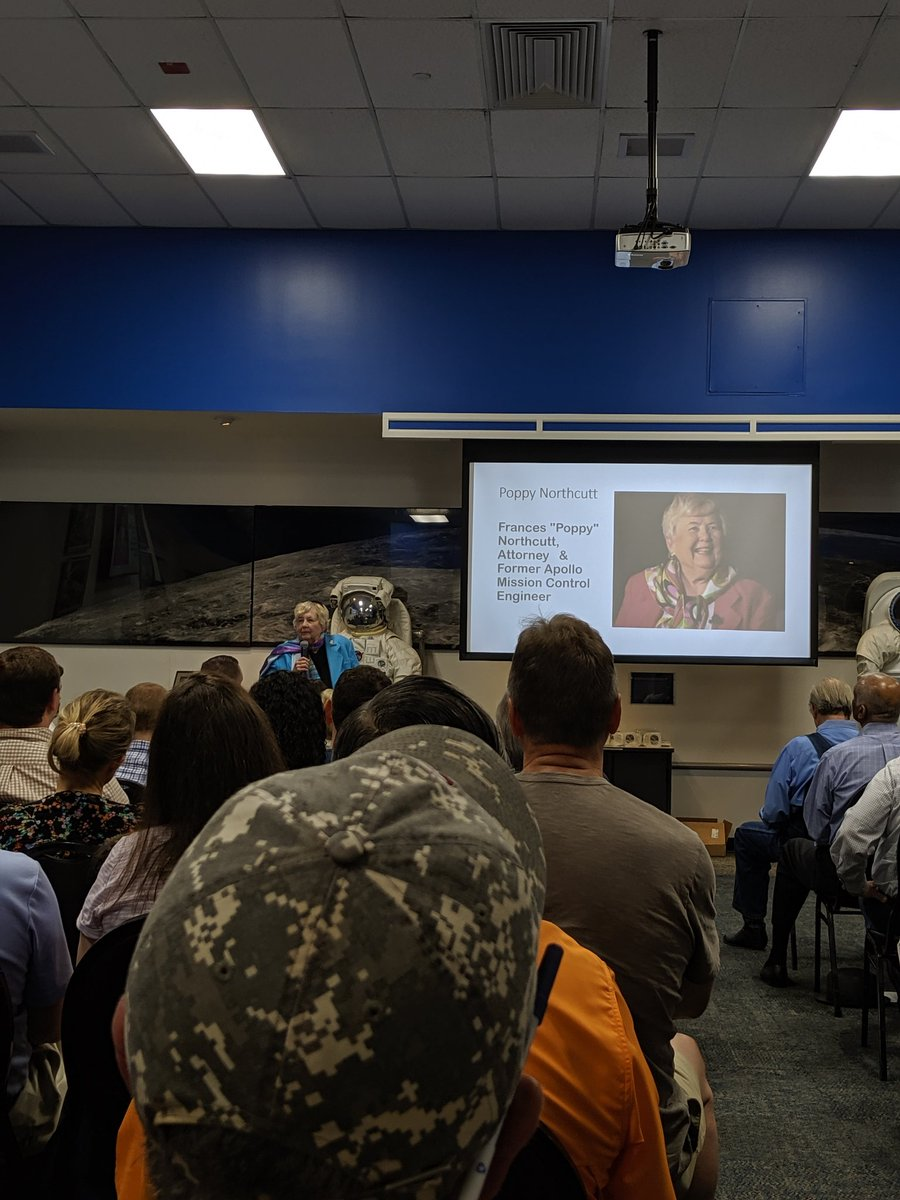 """So grateful I got to see Frances """"Poppy"""" Northcutt speak at NASA yesterday. She only a return to earth specialist on the Apollo missions, and received the presidential medal of freedom for her work on Apollo 13. She is also a criminal defense atty (death certified). #Apollo50th <br>http://pic.twitter.com/UZKCUz6TVk"""