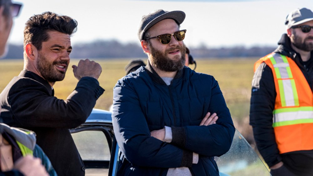 """After #TheInterview was canceled in 2014, Seth Rogen can relate to the cast of #TheHunt: """"It sucks when an evil world leader gets your movie canceled"""" trib.al/VjLJWq6"""