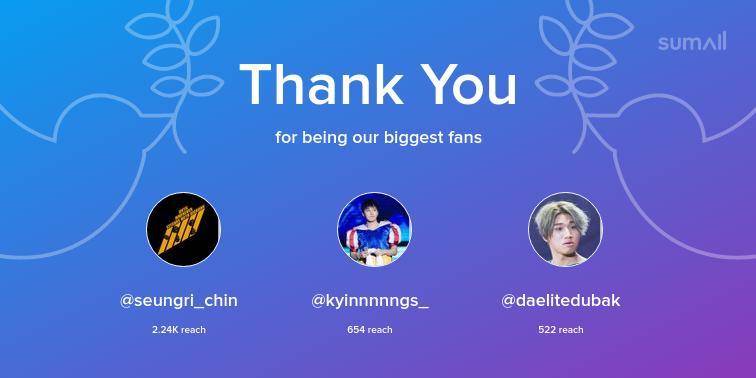 Our biggest fans this week: seungri_chin, kyinnnnngs_, daelitedubak. Thank you! via https://sumall.com/thankyou?utm_source=twitter&utm_medium=publishing&utm_campaign=thank_you_tweet&utm_content=text_and_media&utm_term=6b02553acff6106994843642…