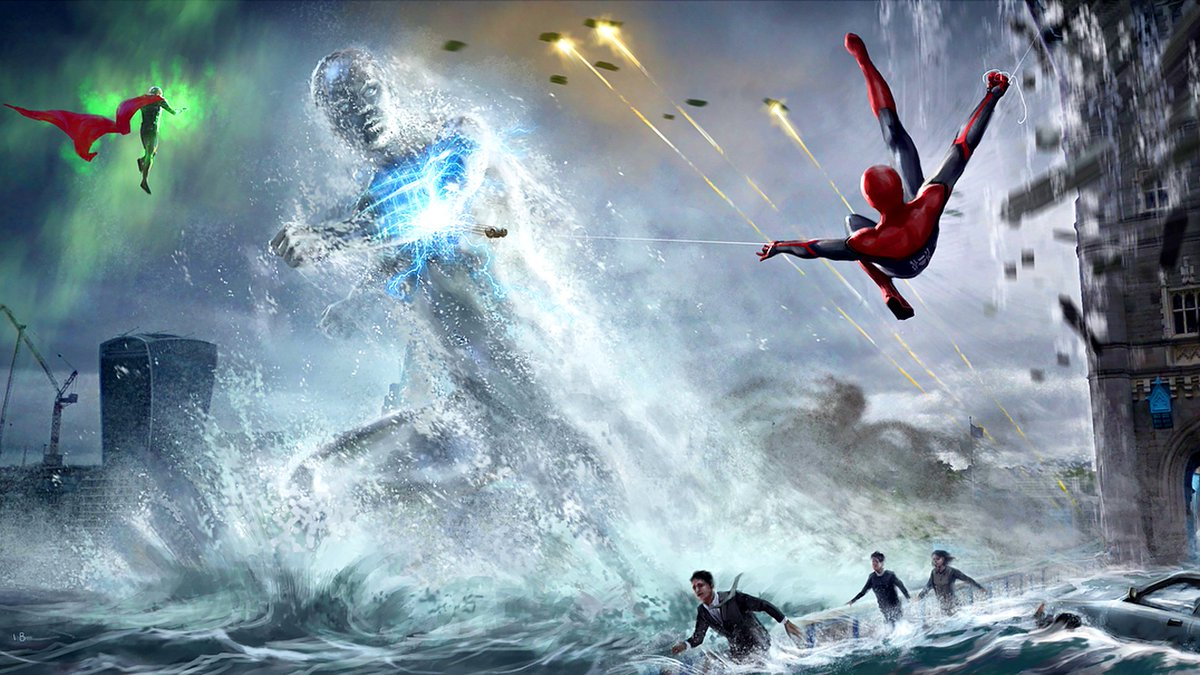 More new #SpiderManFarFromHome concept art images show Spidey & Mysterio up against the Elementals! (via @HenrikTamm)