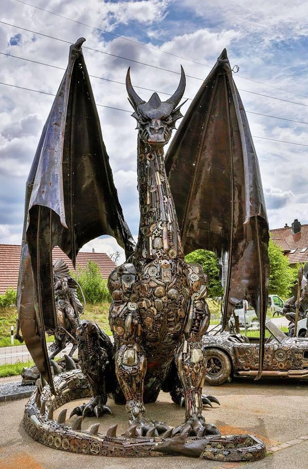 #Art Awesome of the Day: #Steampunk ⚙️ Scrap Metal #Dragon 🐉 Statue #Sculpture via @SteampunkUSA #SamaArt