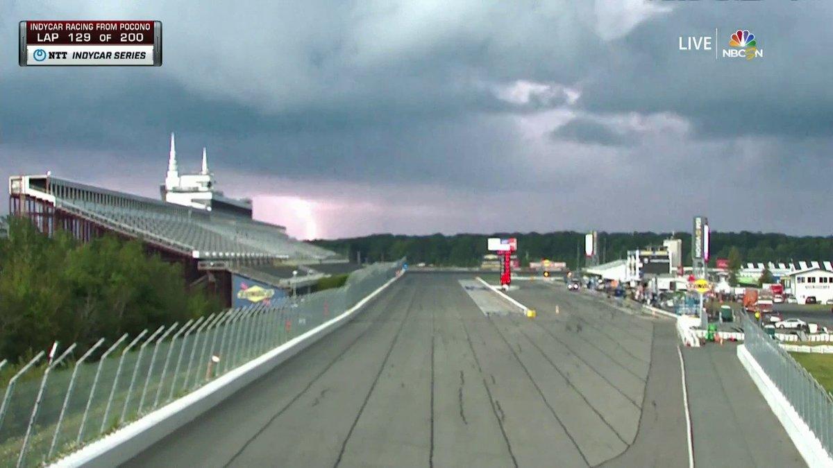 Lightning strikes at Pocono Raceway.