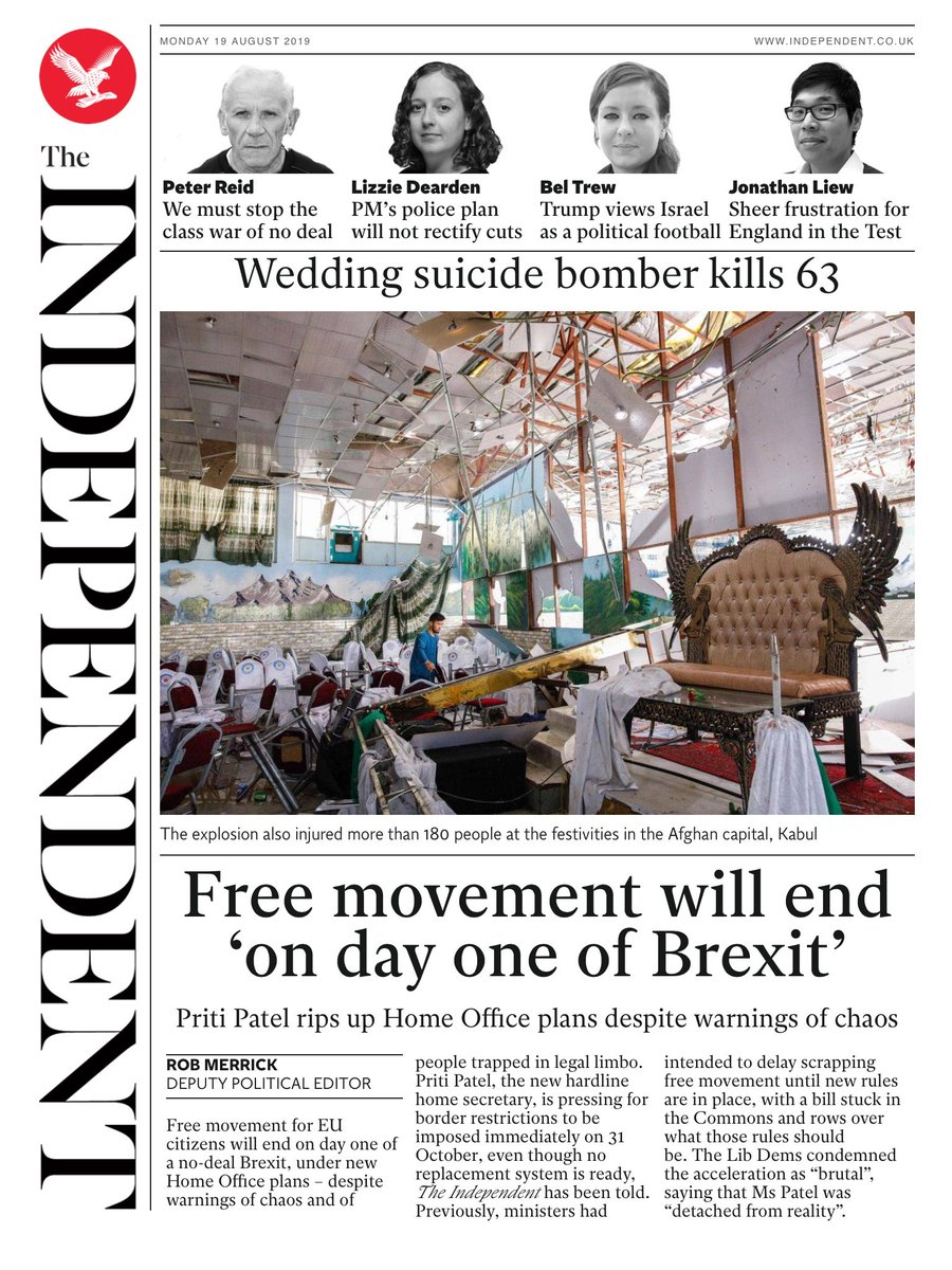 INDEPENDENT DIGITAL: Free movement will end 'on day one of Brexit' #tomorrowspaperstoday