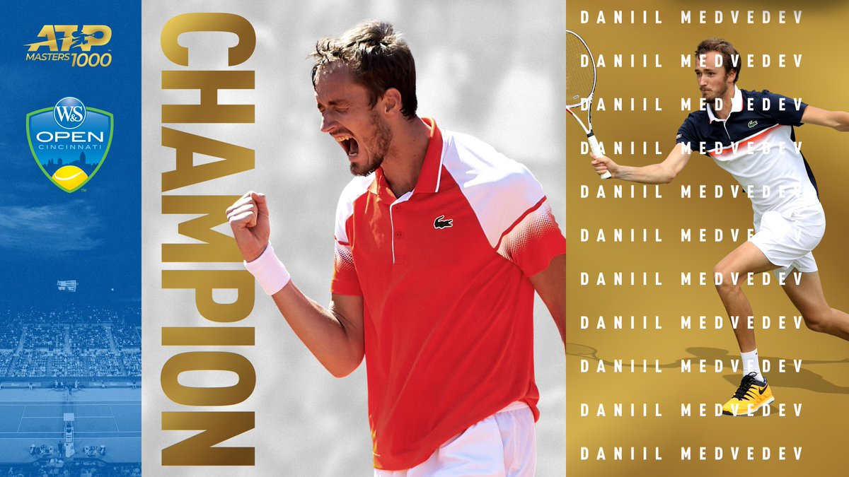 Magic man Medvedev!   @DaniilMedwed notches the biggest title of his career, downing Goffin 7-6(3), 6-4 for the @cincytennis <br>http://pic.twitter.com/1DQQOhqMmS