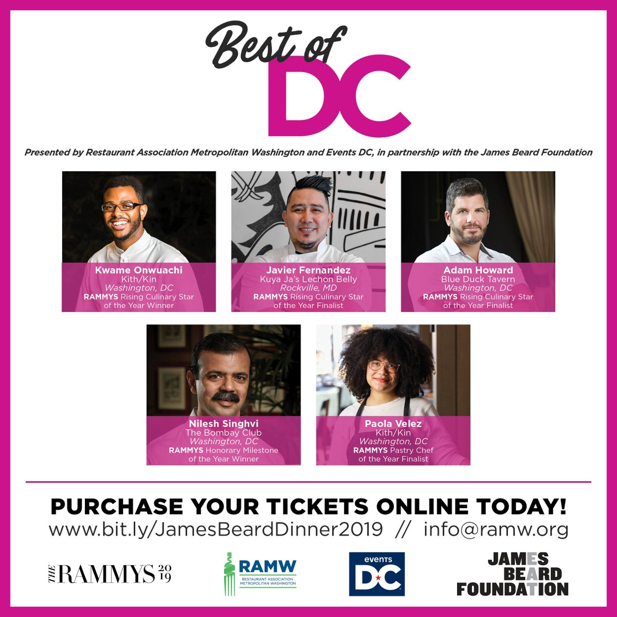 "So much talent, one room! We're bringing 5 #RAMMYS19 finalists to the @beardfoundation House with @TheEventsDC Tues 8/20 for one night only //  SPACE IS LIMITED - purchase tix to experience the #RAMMYS19 ""Best of DC"" spotlight dinner today!     https:// bit.ly/JamesBeardDinn er2019   … <br>http://pic.twitter.com/HmAtpZr5Cq"