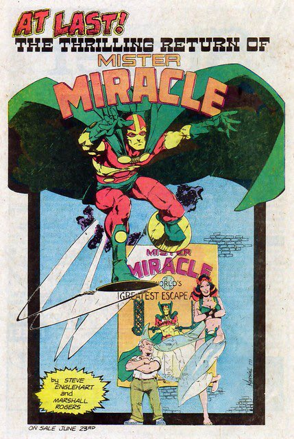 So pleased that DC is reprinting the MISTER MIRACLE run of Steve Engelhart and my old pal Marshall Rogers. Marshall really loved Kirby's MM, this was a dream project for him to work with Steve again after DETECTIVE COMICS. #MarshallRogers #MisterMiracle<br>http://pic.twitter.com/IpaCmVV6On