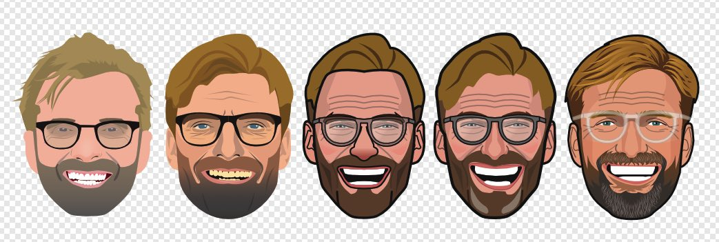 The evolution of my Jurgen Klopp illustrations.   I like to think just like his #LFC team it's got better and better over time. <br>http://pic.twitter.com/6zs6DNduKw