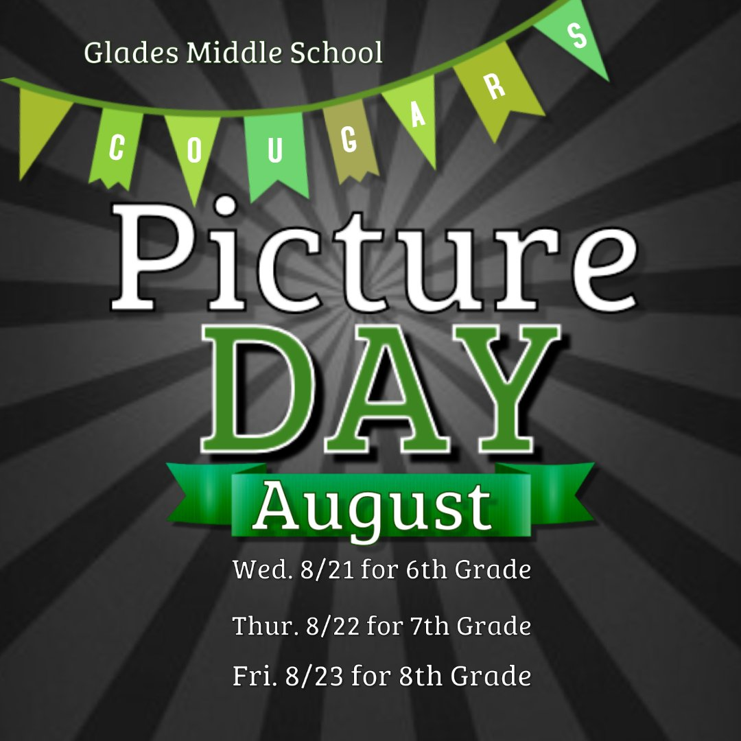 It's Picture Day Aug 21-23. Students are allowed out of unified dress but must follow Broward County Dress Code Policy. #Smilewithpridepassionandpurpose @Glades_MS<br>http://pic.twitter.com/XlJoy1E6do