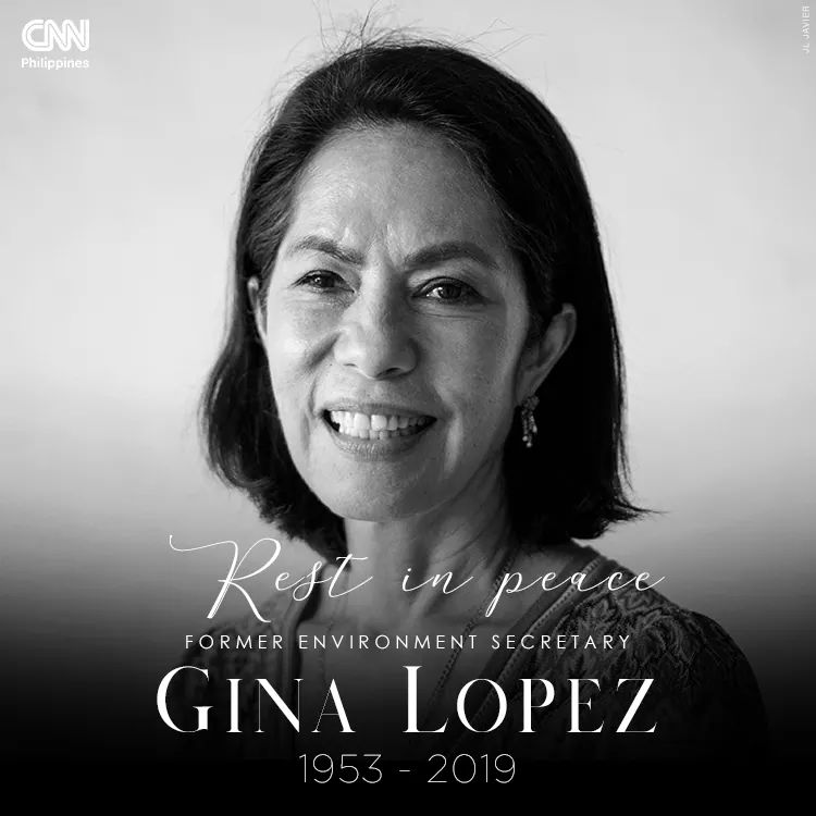 Life could actually be quiet, while resisting environmental rights a lot of us didn't notice you were also resisting brain cancer. Thank you so much for the filipino service Ms. Gina Lopez you are such an inspiration. May you rest in peace. <br>http://pic.twitter.com/uU4spJGfpm