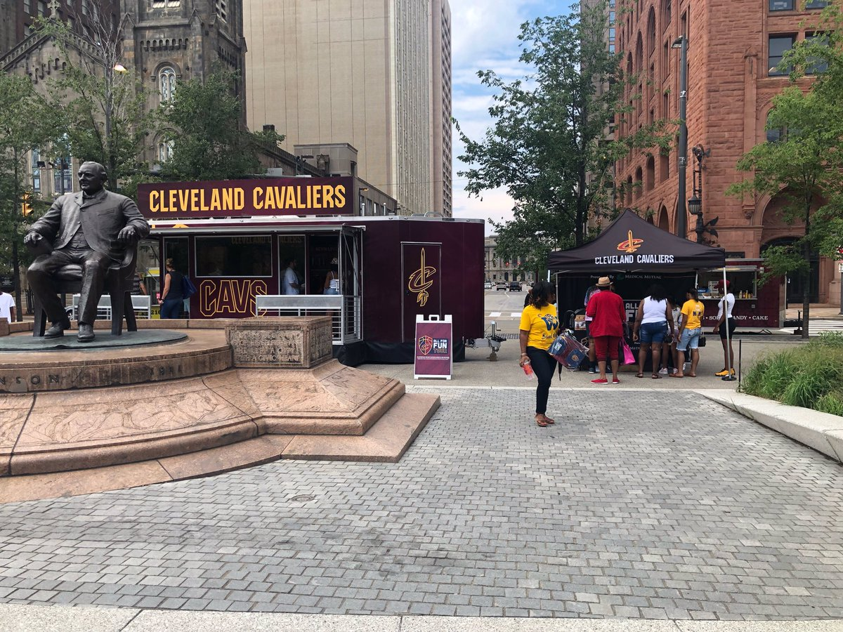 What a weekend! The @cavs #AllForFunTour spread Wine & Gold fun to fans in #TheLand at the @cavs & @monstershockey Community Run, and @TRBF_Cle in @CLEPublicSquare, today! Stop 24 & 25 on our journey to 50. #Cavs50