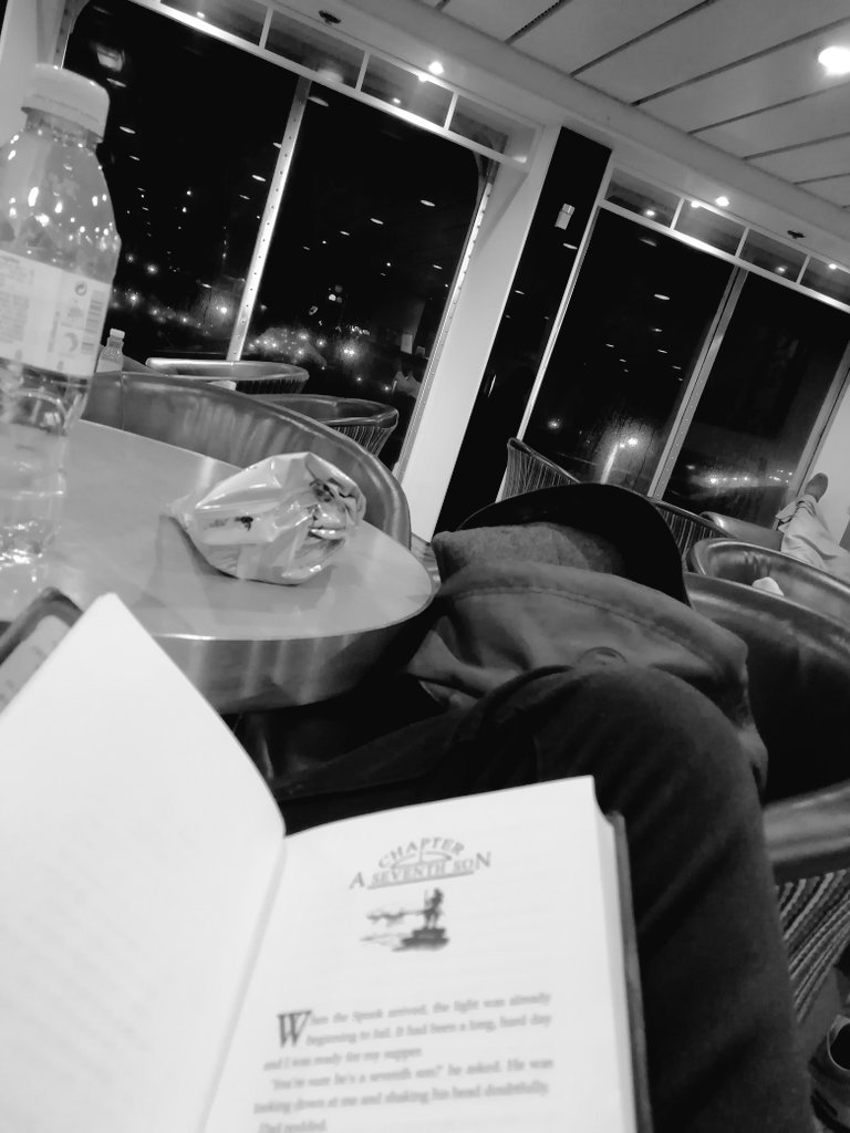 Bon Voyage. A short crossing to France to break up the hours of travel. No better time to pull out a book and some quavers...