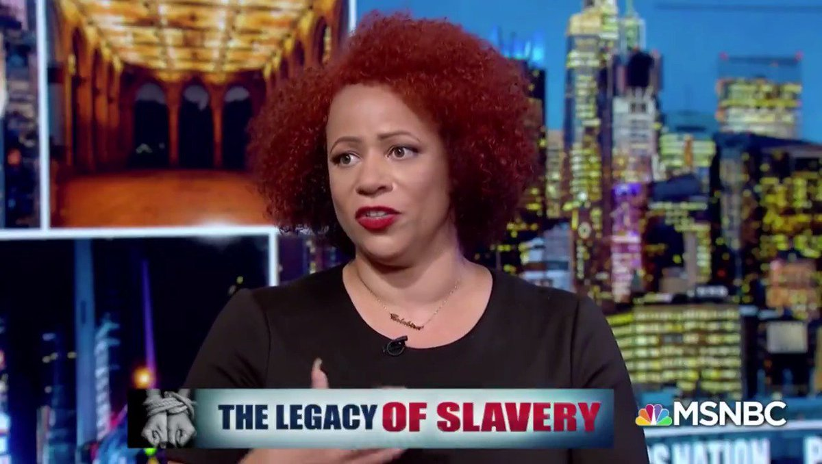 """""""All of these modern institutions and all of these modern things that Americans struggle with can be traced back to slavery and the anti-Black racism that developed to support it."""" –@nhannahjones Watch the whole thing. Then explore the #1619Project here: nyti.ms/30eLNDt"""