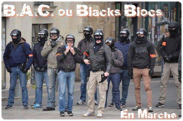 B.A.C. ou Blacks-Blocs... !!! #ViolencesPolicières #EnMarche #MacronCompliceDuPire #GiletsJaunes #JusticePourSteve #JusticePourZineb #DirectAN #DirectSenat #LREM #Macronie #MacronPiegeACons<br>http://pic.twitter.com/B6qJXRbwOl