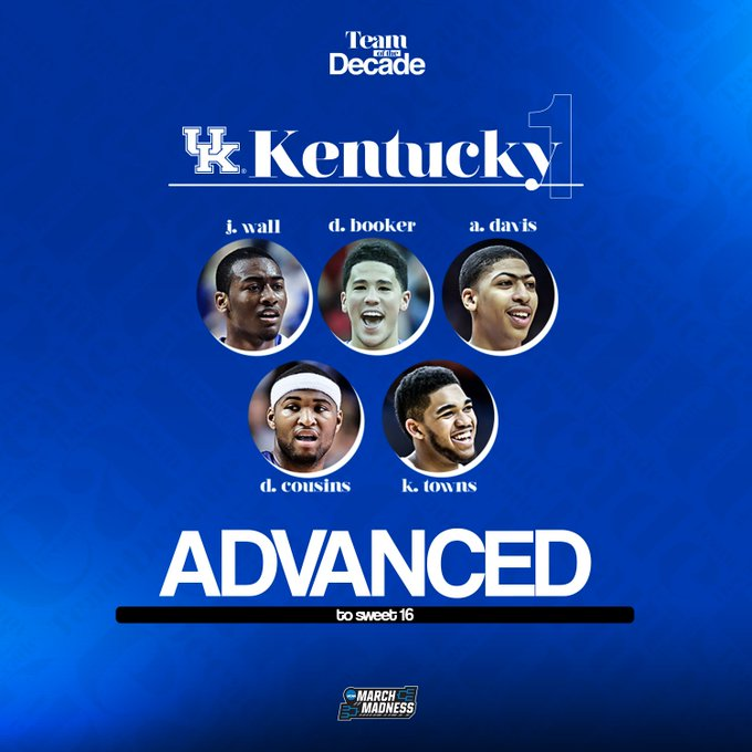 Moving on to the #MMToD Sweet 16...  @KentuckyMBB over Texas @OU_MBBall over Syracuse @BadgerMBB over Wichita State @UNC_Basketball over Maryland
