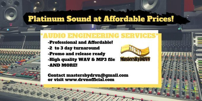 ~NEED AN AUDIO ENGINEER?~ -Professional & Affordable! -2 to 3 day turn around -Promo & Release ready -High Quality WAV & MP3 file -And more! Contact MastersByDRVN today!  http://www. drvnofficial.com     #AudioEngineer #MixAndMastering #MusicProducer #MastersByDRVN<br>http://pic.twitter.com/adZ0TqL3Q8
