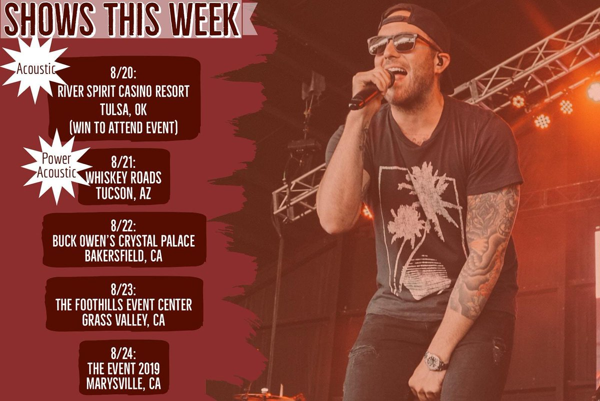 Rest? Not for @TylerRichMusic and the guys! Headed back out for a 5 show week! With a  California swing wrapping up the week doing a Hometown show! Who  is making it out to one of thesee??? #tylerrich #LEAVEHERWILD<br>http://pic.twitter.com/QDQ2BnUM2g