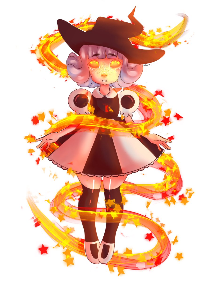 @lavendertowne I drew planchette! I know she's a cooking witch, but I thought it would look really cool if she had magic that matched her eye color. Hope you like her! <br>http://pic.twitter.com/gQVl7UM87c