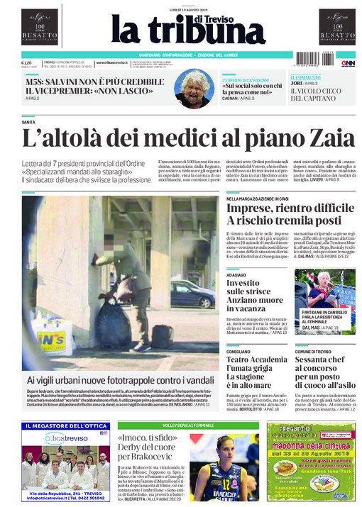 La prima pagina della Tribuna di Treviso oggi in e...