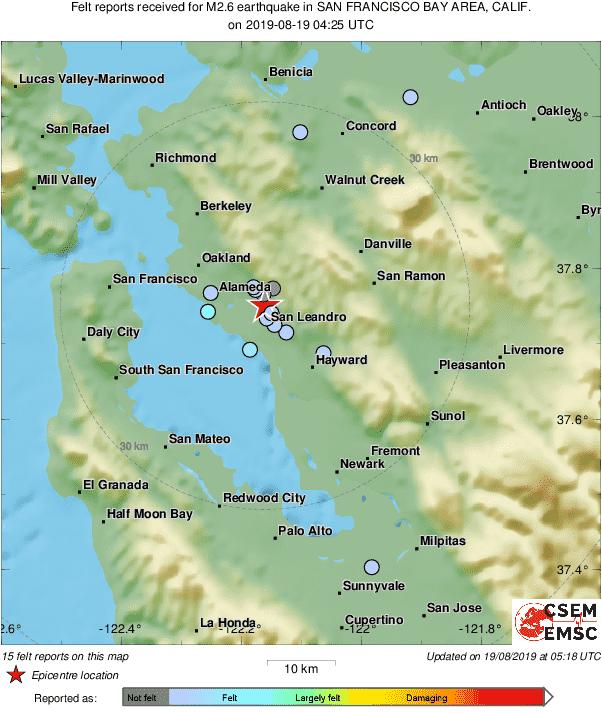 Map of felt reports received so far following the #earthquake M2.6 in San Francisco Bay Area, Calif. 54 min ago https://t.co/VKFaFpgrWJ
